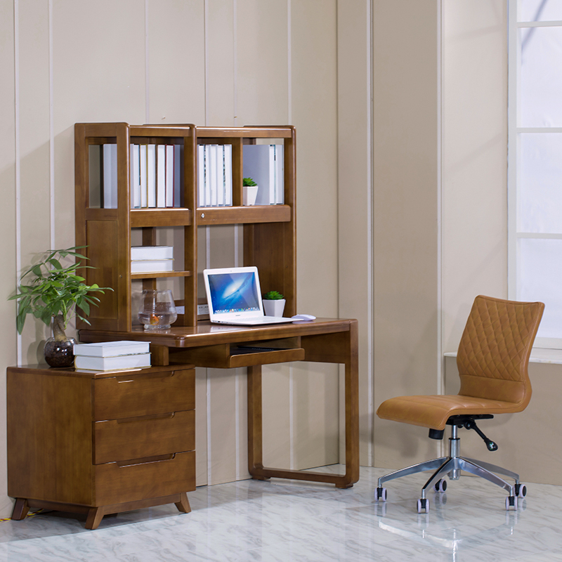 All Solid Wood Desk Bookshelf Combination Home Student Writing With Intelligent Adjustable LED Lamp