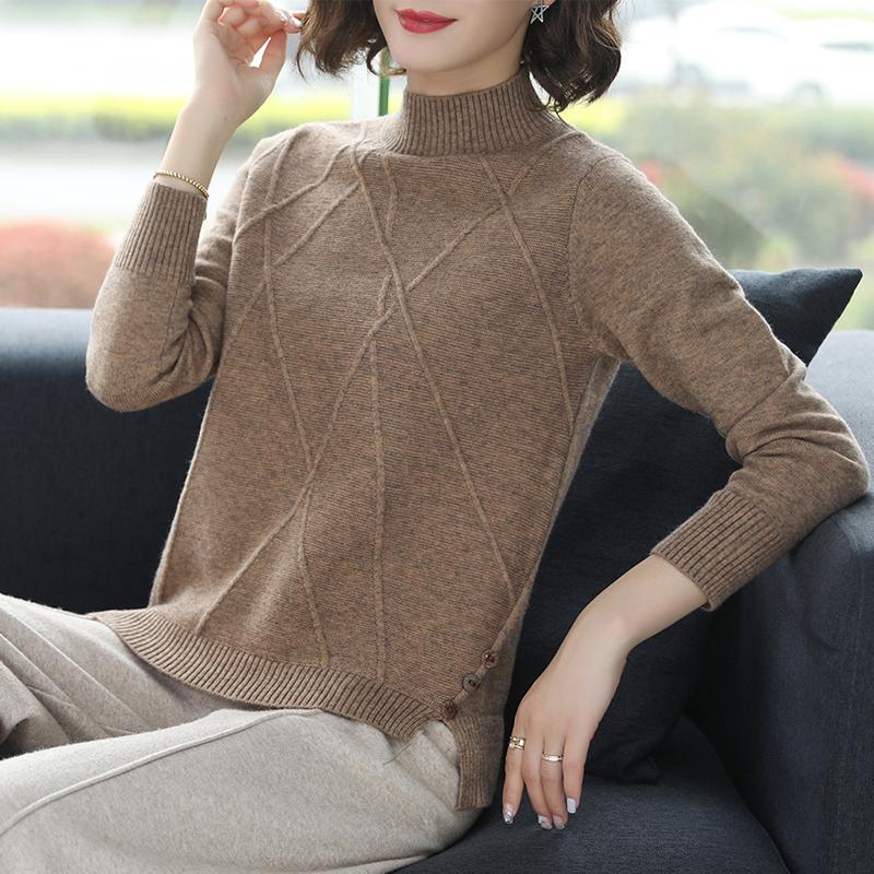 羊毛衫女秋冬2019新款半毛衣宽松打底高领套头长袖针织短款衫加厚