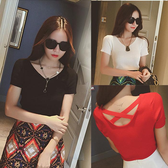 韩版夏季新款t恤女v领短袖纯色棉百搭修身性感交叉露背显瘦上衣