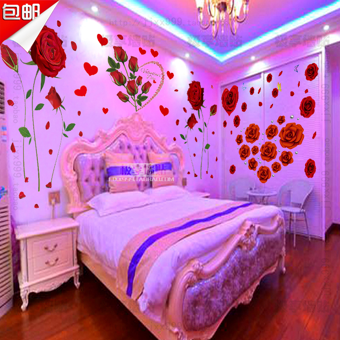 usd 9.06] warm bedroom bedside background romantic pink rose flower