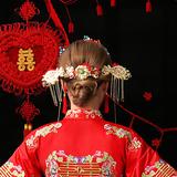 Китайский стиль свадебное новый Нянг головной убор костюм головной убор новый Niang Xiuhe одежда аксессуары для волос Feng Guanxia 帔 корона дракон и феникс висит головной убор