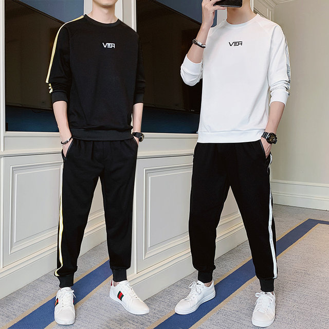 Men's round neck sweater spring and autumn two-piece spring 2020 new wave of casual long-sleeved thin track suit men
