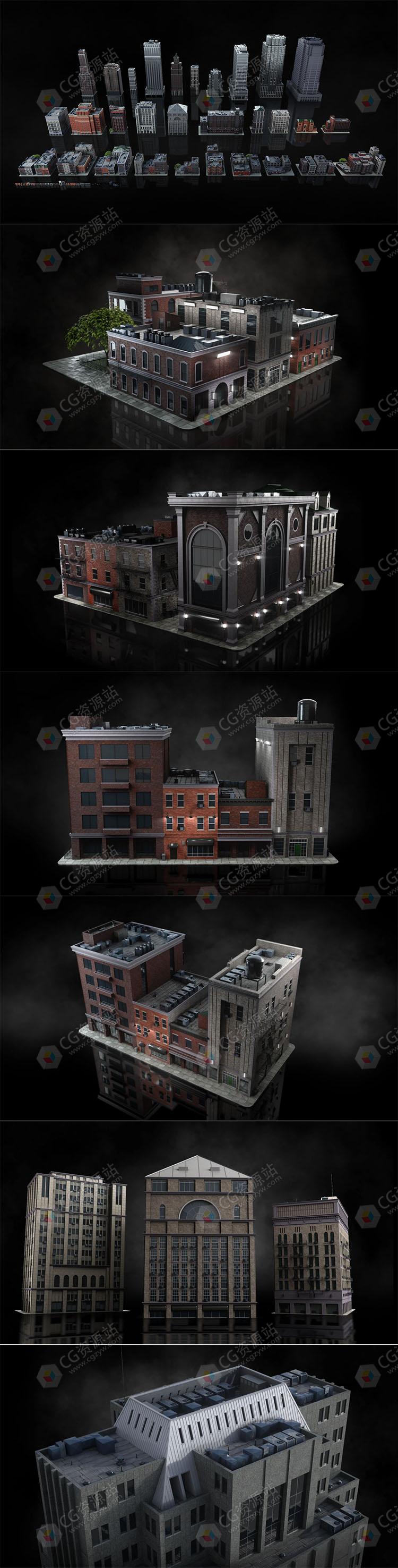 现代西方摩天大楼城市街区住宅街区建筑景观3D模型合