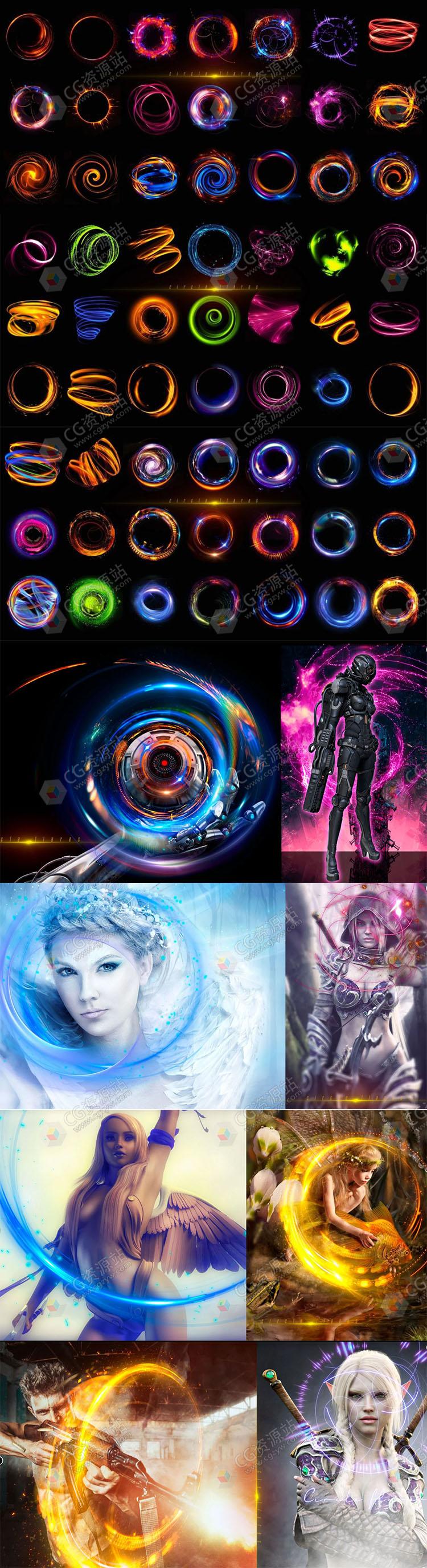 105张多彩耀眼圆形光斑光效特效PNG图片素材