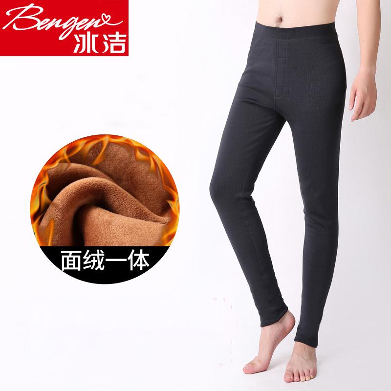 Bingjie mùa thu và mùa đông nam cộng với quần nhung dày màu đen ấm áp Quần nam Slim thêm dày quần legging màu xám - Quần nóng lên