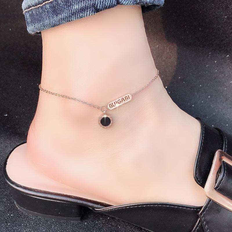 韩国性感金学生脚链经典女14K包金足链百搭冷淡简约风个玫瑰钛钢