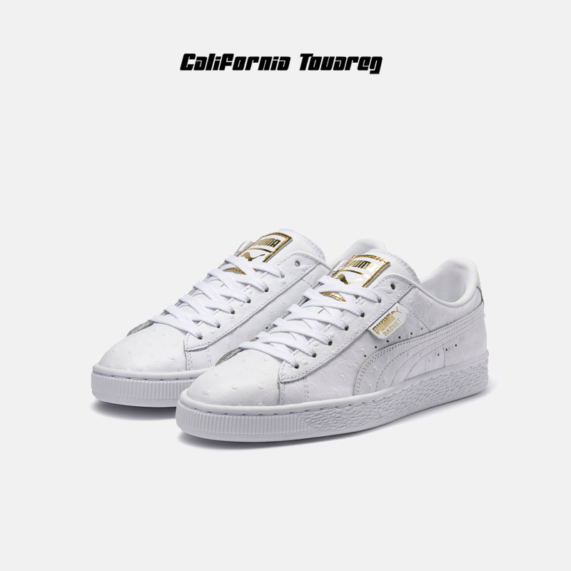 a057af1ba99 Puma Puma Basket Ostrich WnLs ostrich leather gold standard women s white  shoes 366727-02