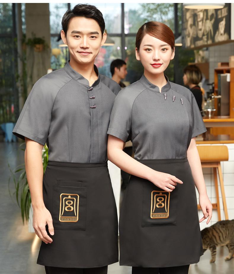农家乐工作服长袖夏装中式复古餐饮茶楼火锅饭酒店服务员短袖服装