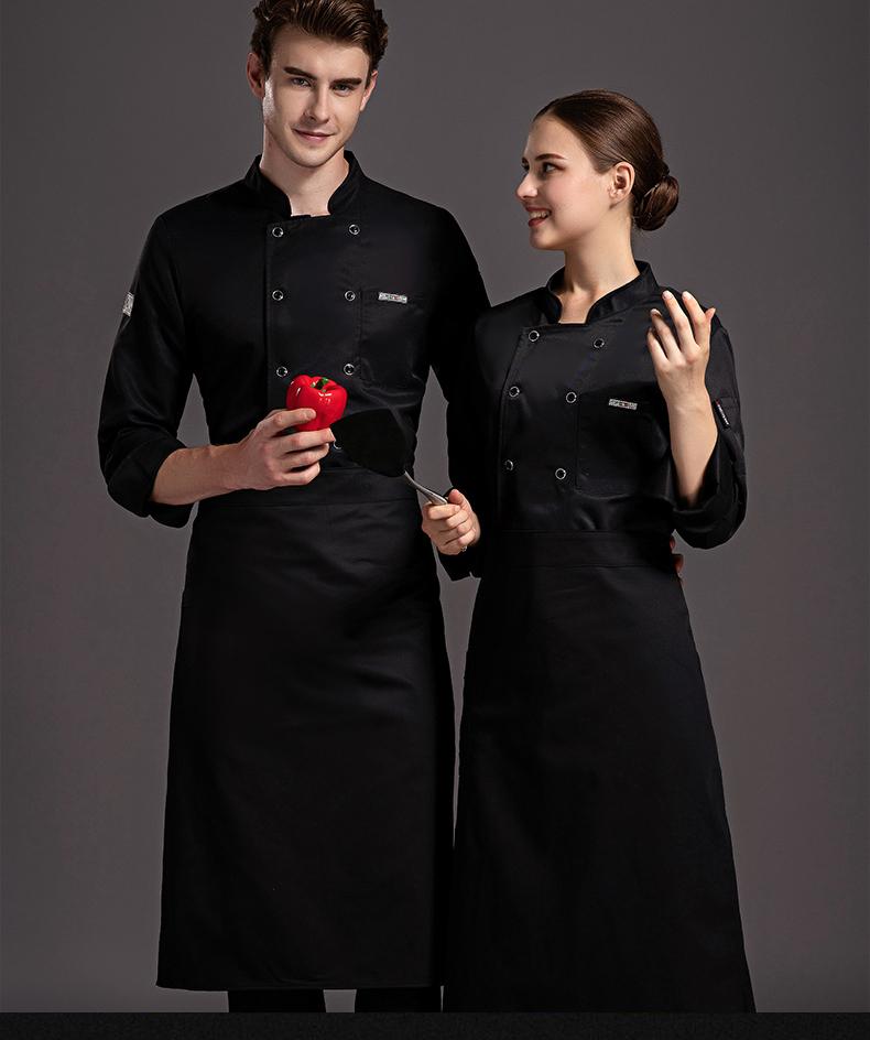法式西餐厅牛扒店厨师服长袖主厨糕点师工作服秋冬装厨师工装印字