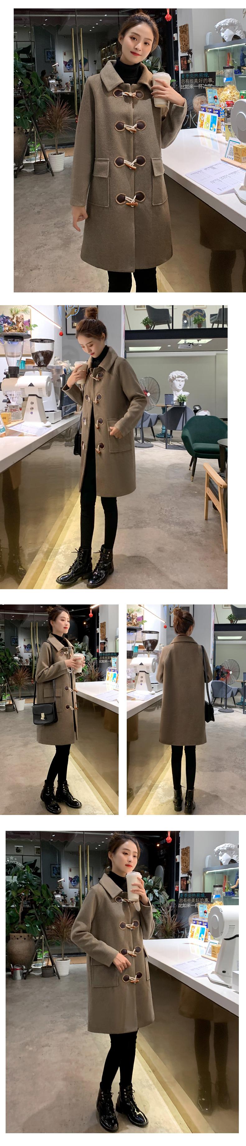 赫本风毛呢外套女小个子年秋冬装韩版牛角扣呢子大衣女中长版详细照片