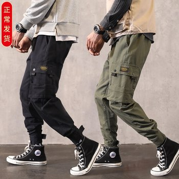 Male overalls tide brand and feet ins over the fire cec pants men's casual pants loose straight wild sense of falling trend