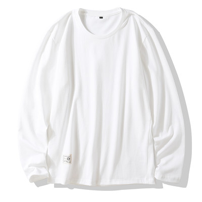 Autumn clothing men's white bottoming shirt men's long-sleeved T-shirt cotton outside sweater, white T male trend is loose