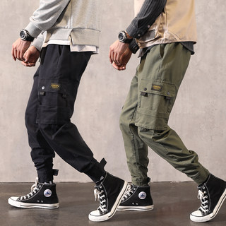 Paratrooper overalls men's tide brand ins super fire port style pants men's summer straight loose casual pants spring and autumn