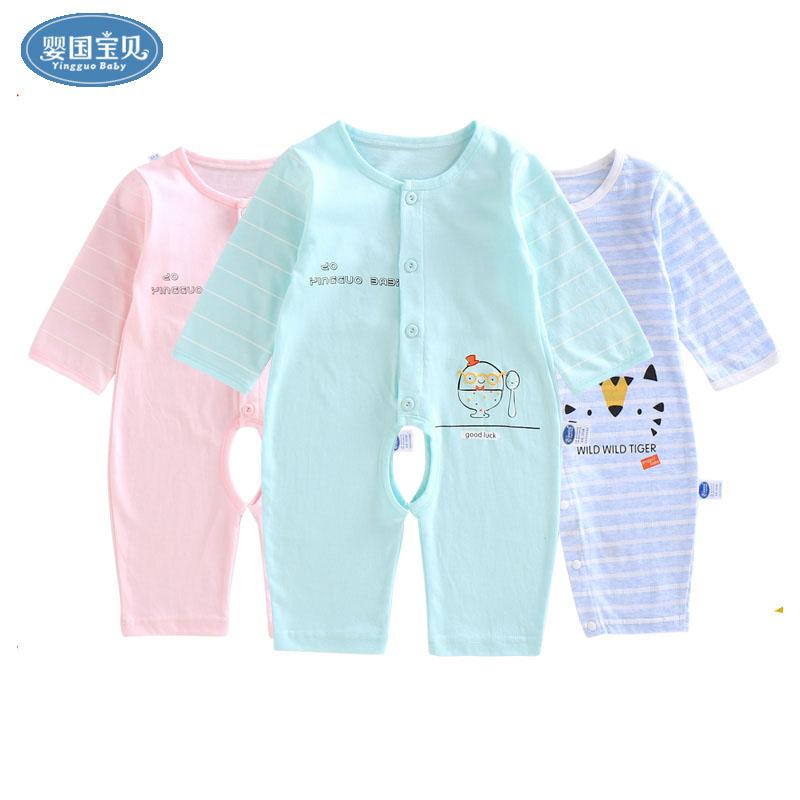幼儿连体衣夏季空调婴儿睡衣0-1岁男女长袖衣服宝宝服纯棉