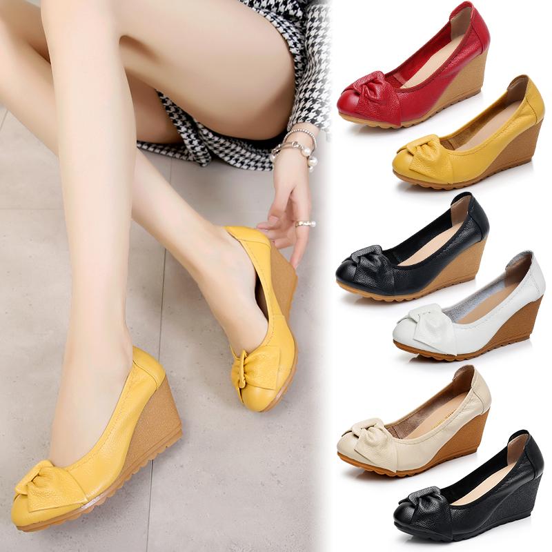女鞋牛筋春秋女单鞋妈妈真皮鞋舒适防滑坡跟新品软底蝴蝶结工作鞋