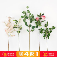 North European simulation plant silk flower, artificial flower, tropical green plant, turtle leaf, leaf, artificial flower, living room, background wall, decorative flower