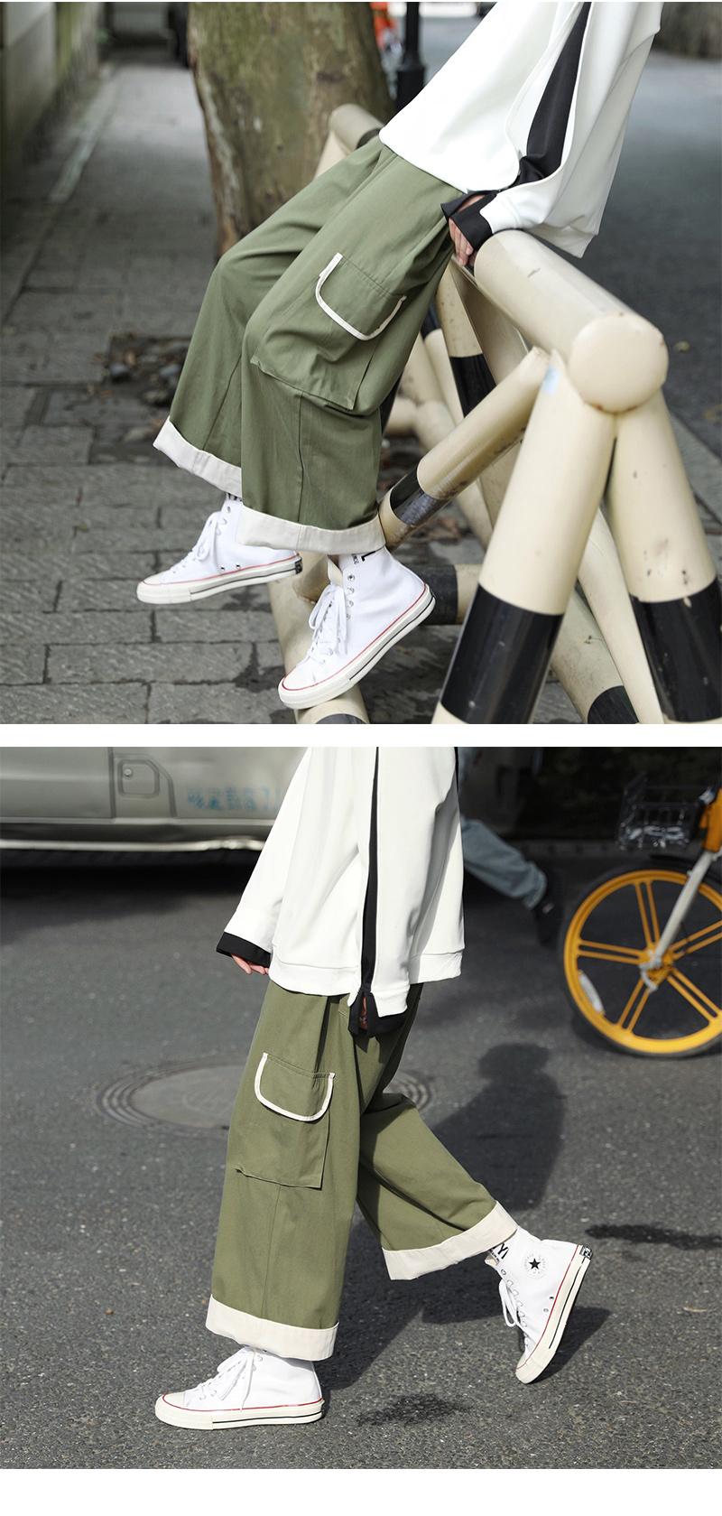 秋季复古阔腿九分口袋工装裤男韩版薄款直青少年筒堕感休闲裤