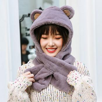 Шляпа женский осенний зима сладкий студент милый мягкий сестра elmo балаклавы зи шарф один корейский ребенок два рукава, цена 416 руб