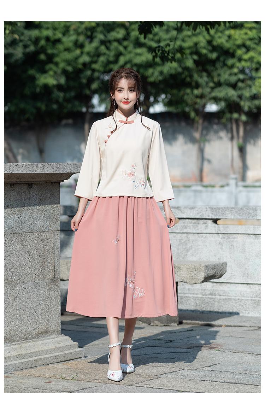 民国少女学生装中国风汉服旗袍上衣两件套中式唐装套装茶服商品详情图