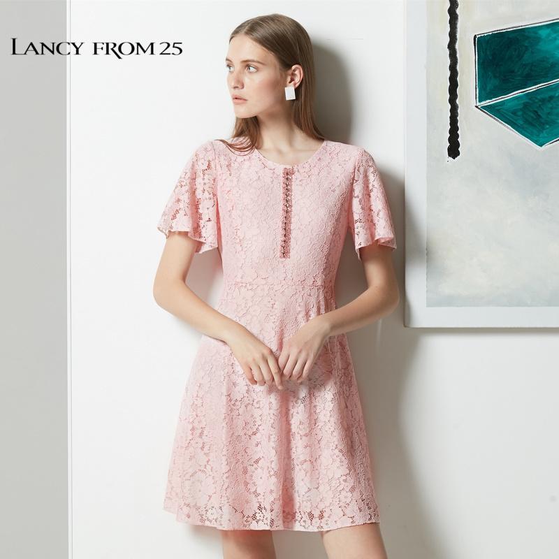 朗姿2018夏裝新款時尚修身收腰中長裙釘珠蕾絲連衣裙裙子女夏