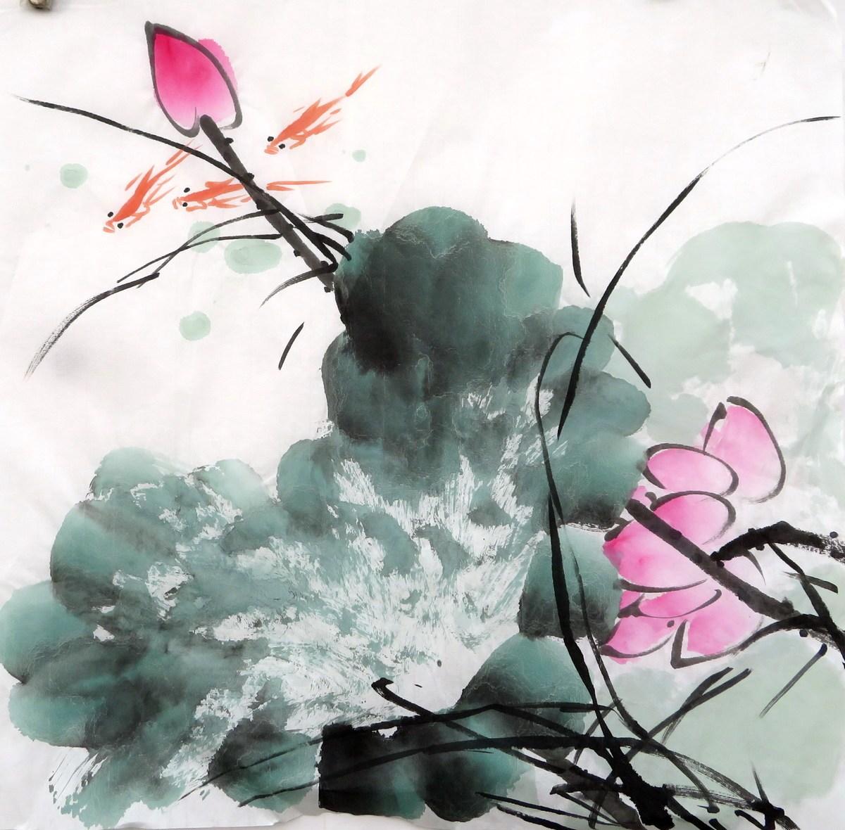 【8墨锦轩】特价装饰国画字画花鸟画纯手绘三尺斗方荷花鱼
