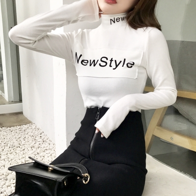 2017 autumn and winter new wild letters printed shirt Slim high collar thickened long-sleeved shirt T shirt women