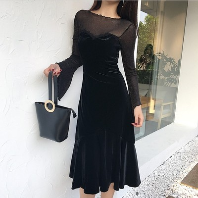 2017 autumn new long-sleeved velvet lace splicing dress was thin temperament lotus leaf large skirt in women