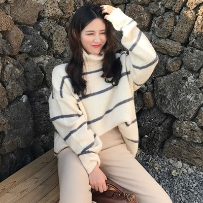 2017 autumn and winter new student high-necked striped thick sweater sweater loose long-sleeved hedging jacket women