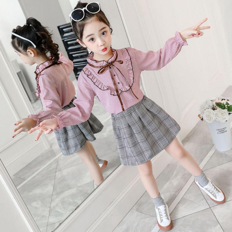 Girls Spring Dress 2020 New Set Fashion Dress Two-piece Spring fall 3 Big Kids 8 years old 12 tide