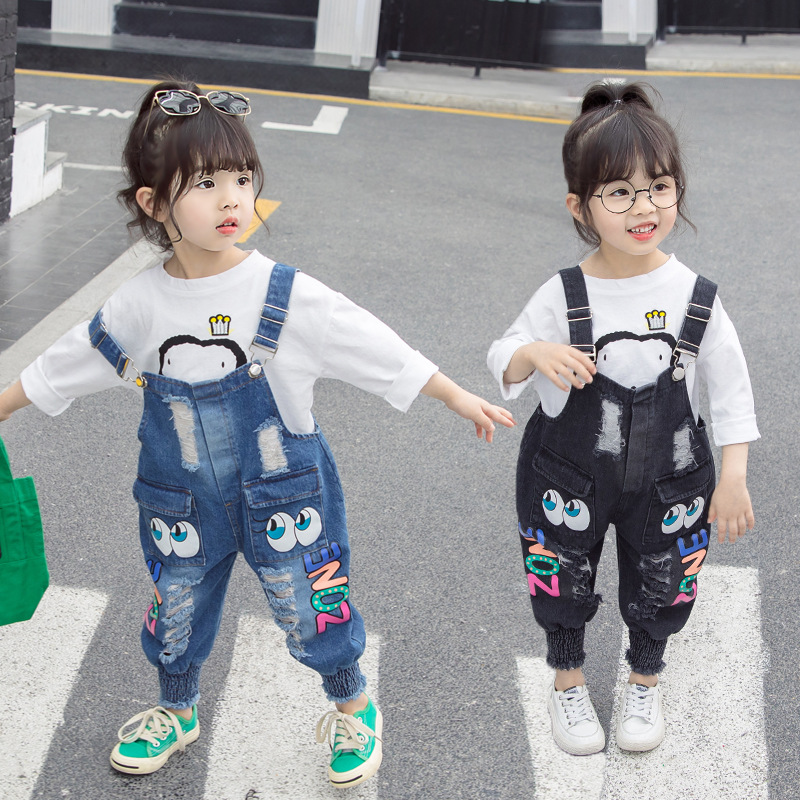 2020 spring and autumn new Korean version of 3-8 years old girls big eyes 4 denim strappy pants 6 baby personality 7 long pants
