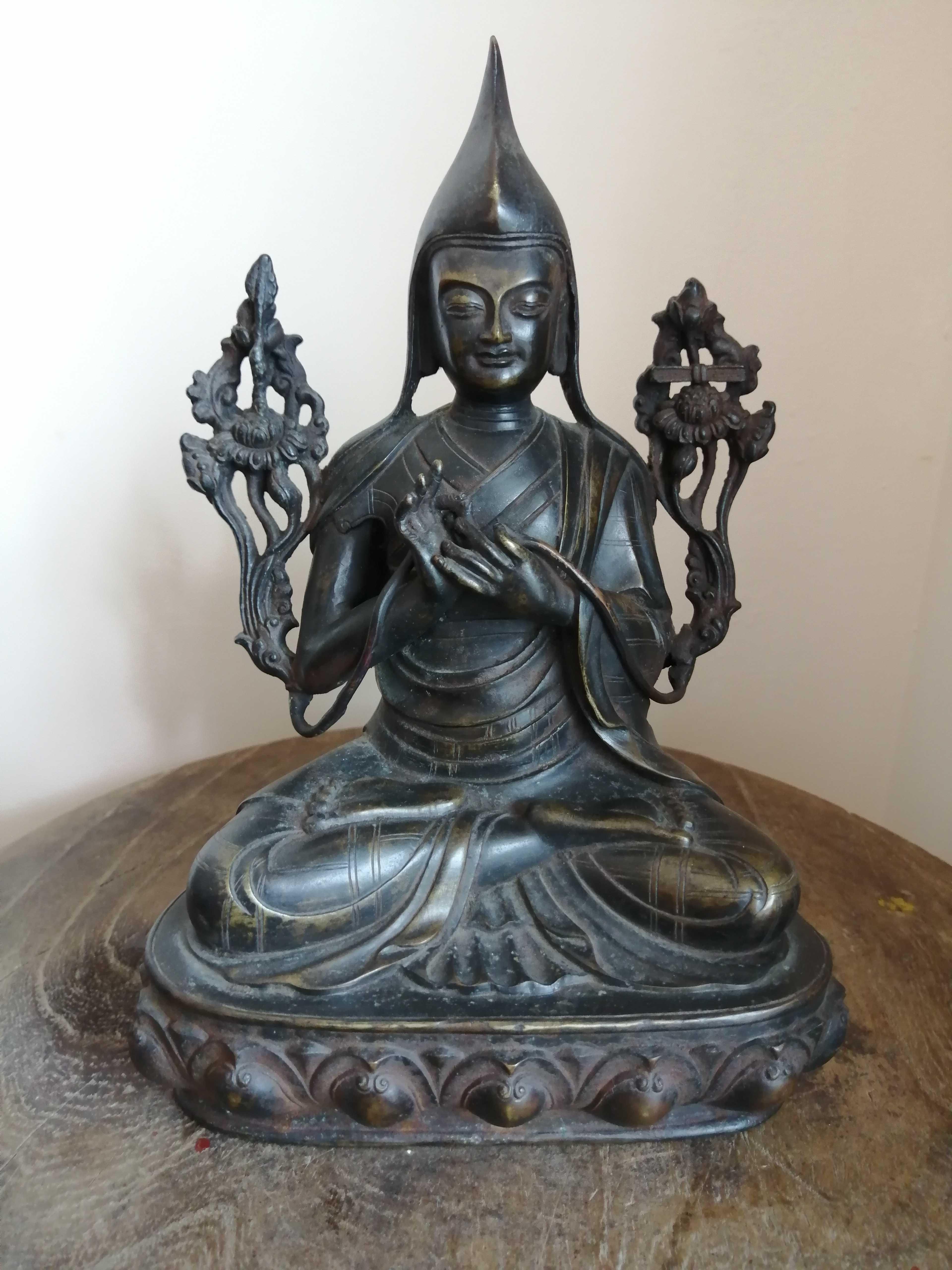 明代老铜佛像藏传宗咯巴祖师像