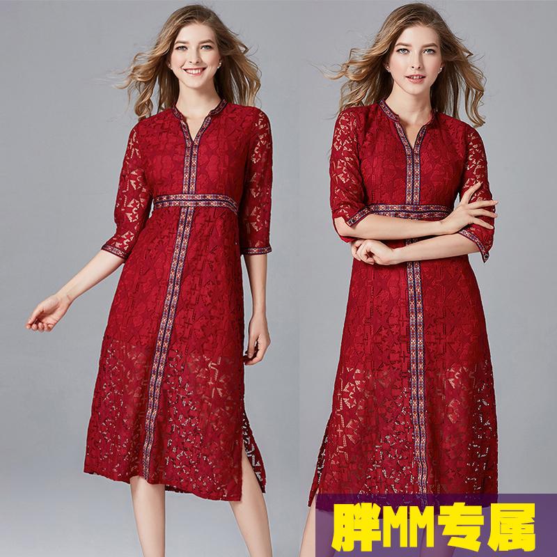 中国风秋冬款加肥加大码女装蕾丝连衣裙长裙胖mm200斤晚礼服胖妹