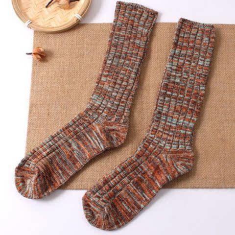 堆堆袜纯棉线袜子高筒加厚保暖棉线复古双色防臭袜子女棉堆堆袜子