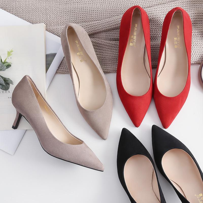细跟高跟鞋女鞋2019夏季新款皮鞋单鞋黑色婚鞋夏款红色中跟真磨砂