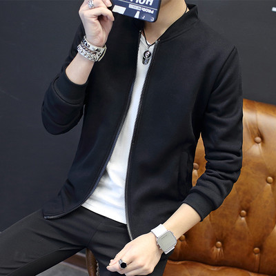 Teenager black jacket spring and autumn thin sections fall youth casual clothes men coat men Korean version of the trend
