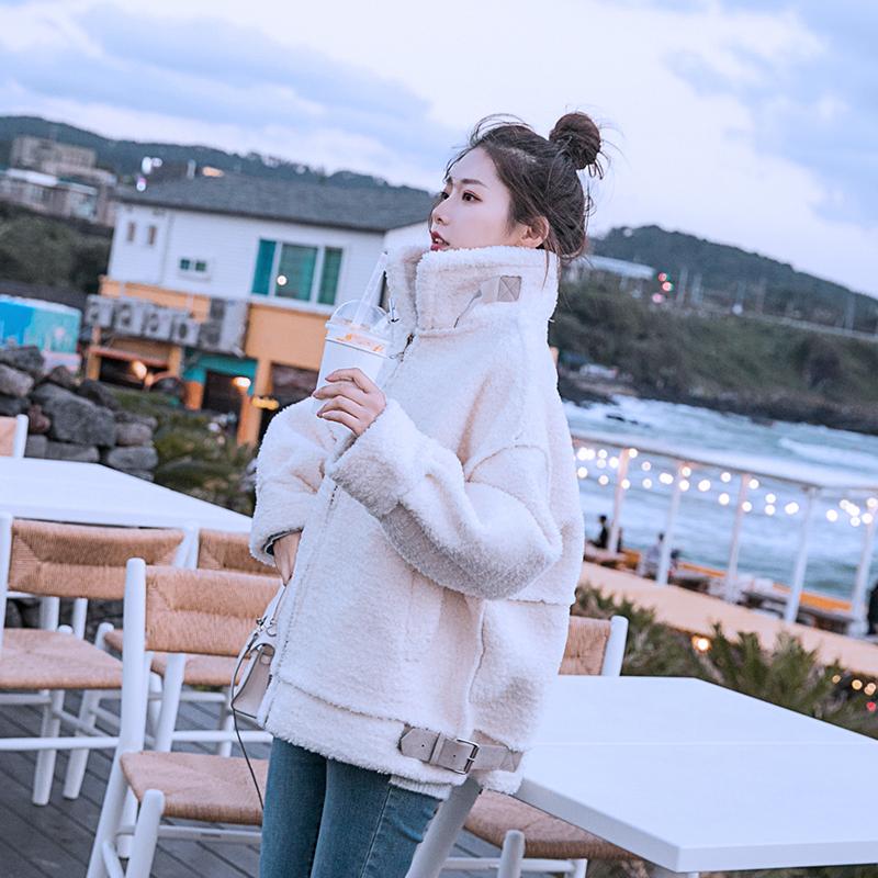 2018冬季羊羔绒外套女皮毛一体加厚高领大衣中长款时尚宽松BF棉衣