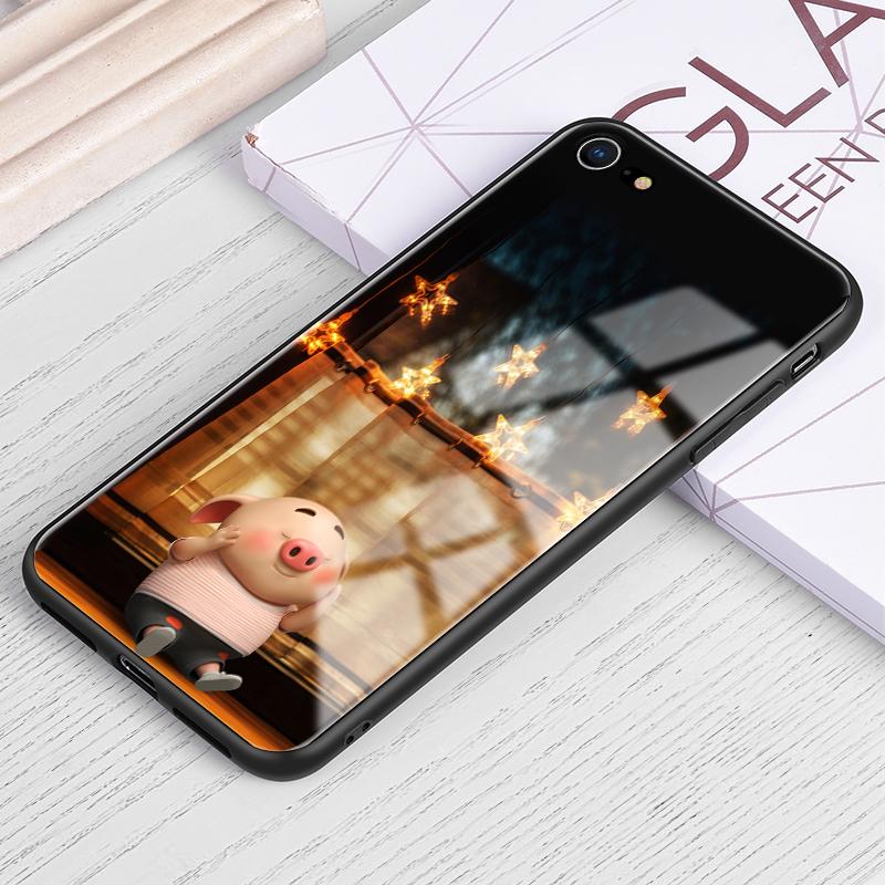 苹果6手机壳猪小屁同款6s钢化玻璃苹果6plus彩绘新年猪6splus创意防摔软胶7保护套8男女新款7plus/8plus潮牌