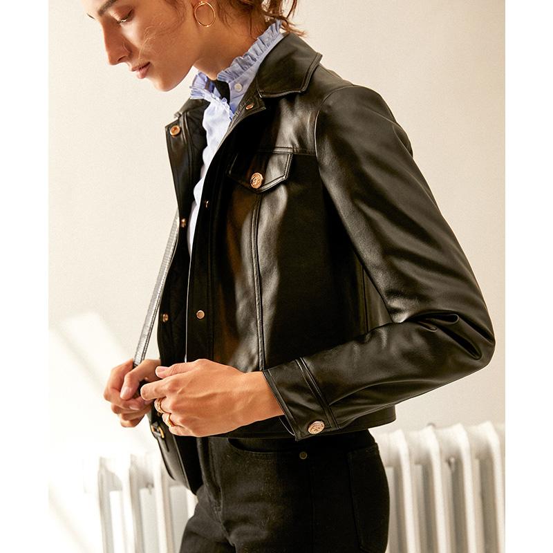 Nhiều hộp bí mật đẹp trai mới Pháp đẹp trai áo khoác da pu nhồi bông đầu máy da ngắn - Quần áo da