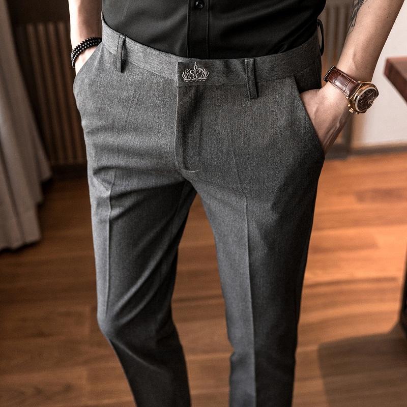 秋冬季西裤男修身西服裤子小脚九分裤韩版男士休闲商务加绒西装裤
