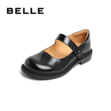 Belle Shallow Mouth Mary Jane shoes retro small leather shoes women's autumn shopping mall new thick heel casual shoes 3TR01CQ0