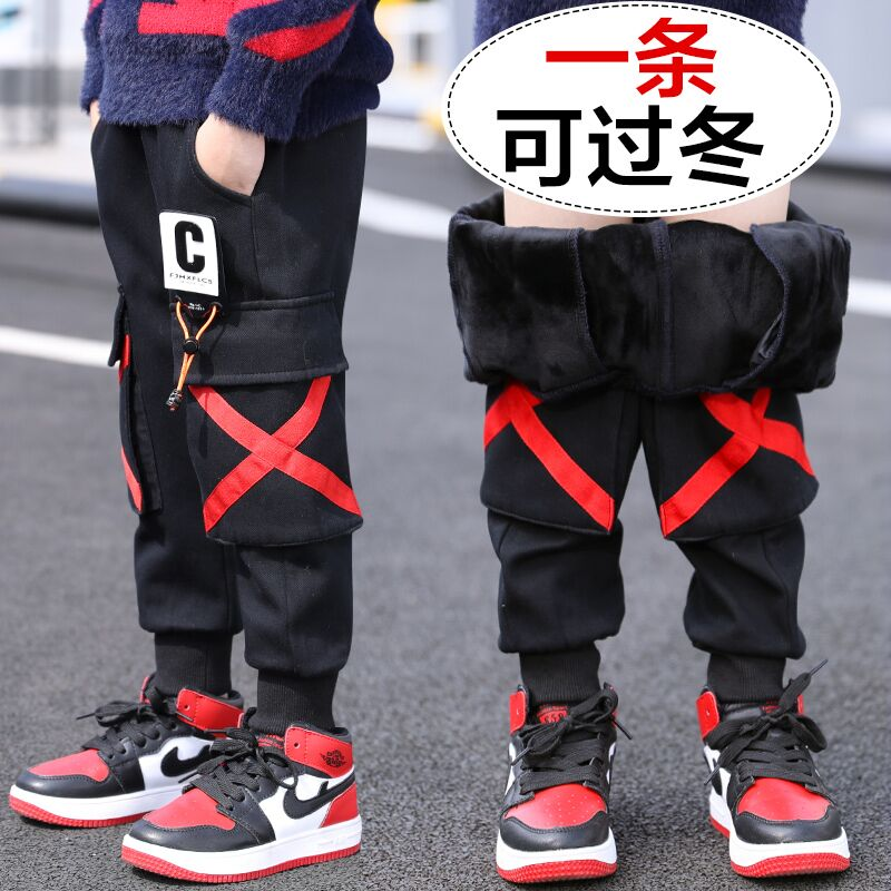 Children's clothing boy with cashmere pants 2019 new winter clothing in the autumn and winter children's cotton pants boy winter thick tide