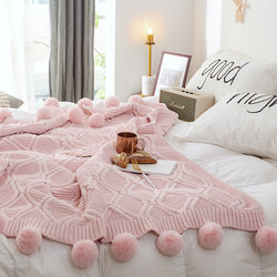 Chenille wool ball cover blanket knitting blanket thick wool woven blanket bed end blanket set towel decoration sofa blanket blanket