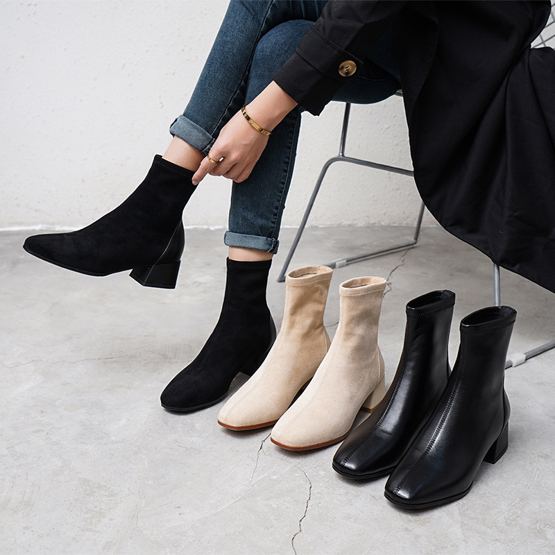 粗跟2019女鞋新款瘦瘦单靴子东大门网红秋冬百搭秋季短靴马丁方头