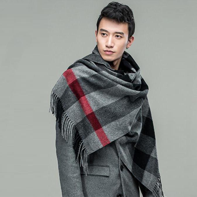恒源祥夏純色空調房披肩秋冬季男士格子加厚羊毛圍脖斗篷圍巾兩用圖片