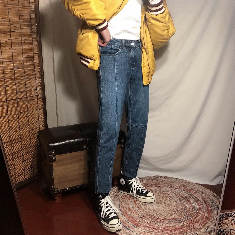 【秒杀毛边150元两件】深蓝直筒九分牛仔裤韩版潮流裤子专区男
