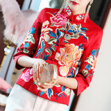 Chinese embroidered blouse women's short retro small padded jacket Tang suit women's winter clothes Chinese style thick cheongsam national costume