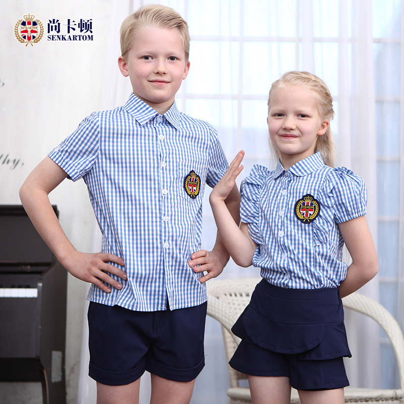 Shang Caton kindergarten summer kindergarten school uniforms summer primary  school uniforms suit plaid short-sleeved class clothes new