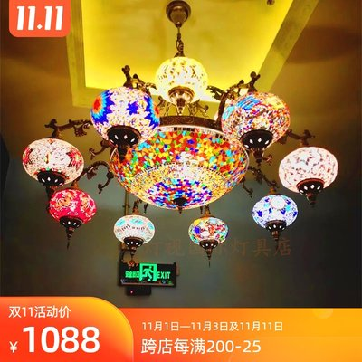 European retro romantic living room villa characteristic restaurant cafe western restaurant hotel handmade glass chandeliers