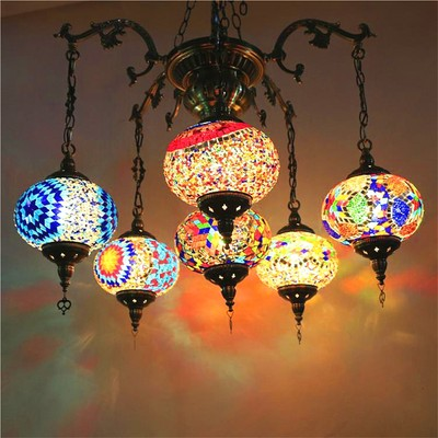 Spider chandelier man cafe retro romantic handmade living room characteristic hotel restaurant branch four-headed glass chandelier