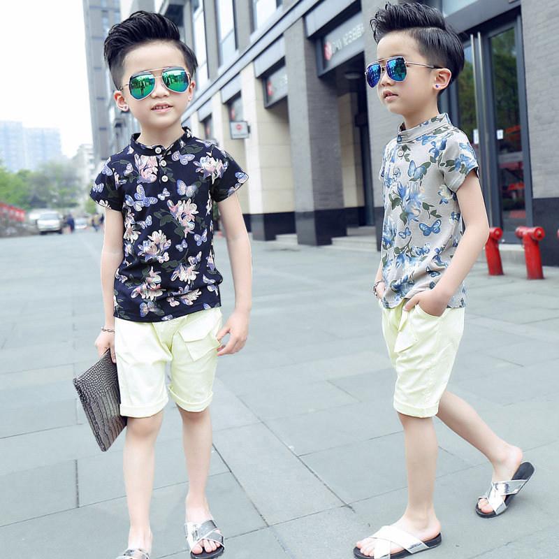 男童夏装套装中大童两件套2018新款儿童韩版夏季套装小孩洋气衣服